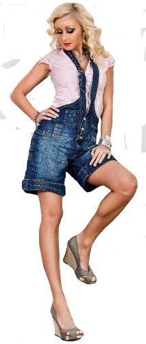 Damen Jeans Shorts Latzhose Overall Neckholder, Größe:32