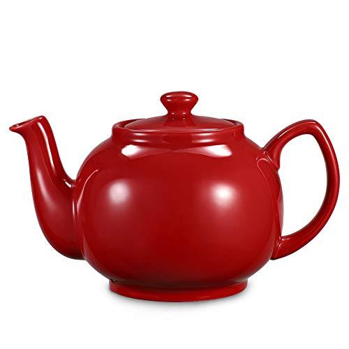 Urban Lifestyle Teekanne/Teapot Klassisch Englische Form aus Keramik mit Nicht-tropfendem Ausguss Cambridge 1,6L mit Teefilter aus Edelstahl (Rot)