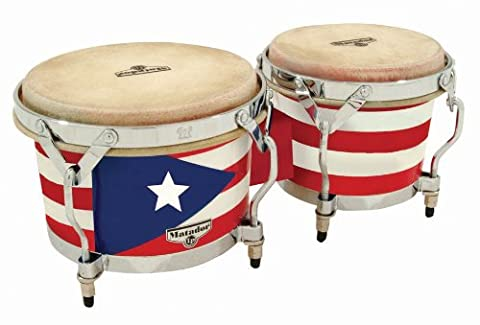 Latin Percussion LP811014 Matador Wood Bongos - Puerto Rican Flag/Chrome
