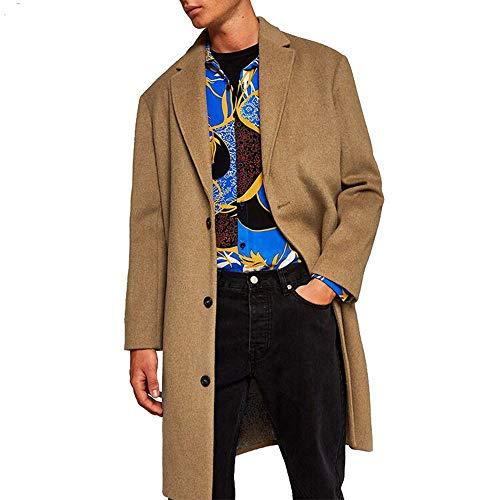 (KPILP Herren Mantel Elegant Winterjacke Medium Warm Long Dicker Wollknopf Revers lose Mantel Herbst Winter Outwear(Türkis,EU-56/CN-L))