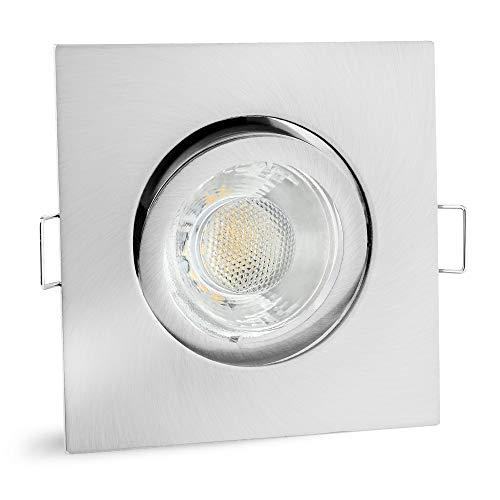 linovum® LED Einbaustrahler Spot eckig GU10 schwenkbar - Einbauleuchte LED Edelstahl Optik inkl. LED GU10 6W neutralweiß 230V