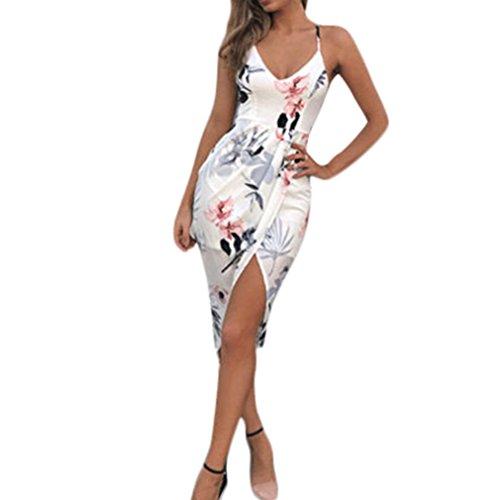 Elecenty Damen V-Ausschnitt Strandkleid Irregulär Sommerkleid Rock Mädchen Blumen Drucken Abendkleider Kleider Frauen Mode Ärmellos Kleid Minikleid Knielang Kleidung (L, Weiß)