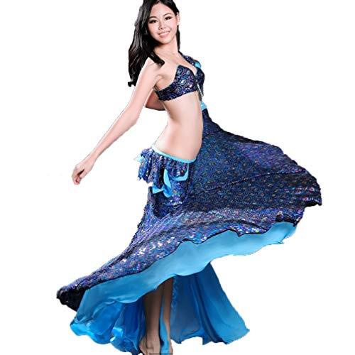 Bauchtanz Outfits Frauen Performance Kostüm Geteilte Seite BH/Rock 2 Stücke Pfau Bauchtanz Kleid mit Pailletten, Blue, M (2 Stück Zeitgenössischen Tanz Kostüme)
