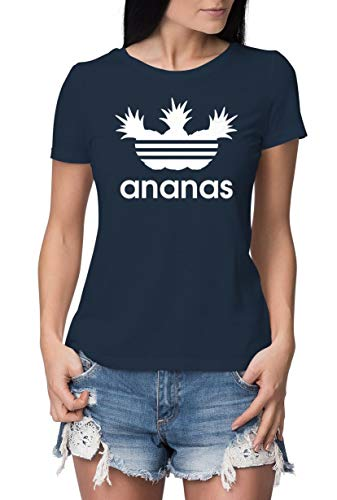 Tshirt Damen Aufdruck Ananas lustiges T Shirt Bedruckt Logo Parodie Slim Fit Navy-Weiß L - Dick Lustig T-shirt