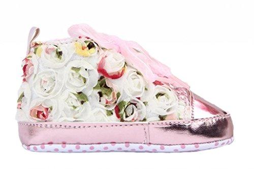 Smile YKK Liebe Baby Schuh Lauflernschuhe Bunt Blume Deko Lace 12 Pink Pink