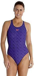 Speedo Monogram Allover Muscleback, femme, Monogram Allover Muscleback, Bleu marine/violet