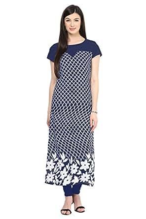 Ziyaa Women's Straight Fit Synthetic Kurta (1228_XS-blue-XS)