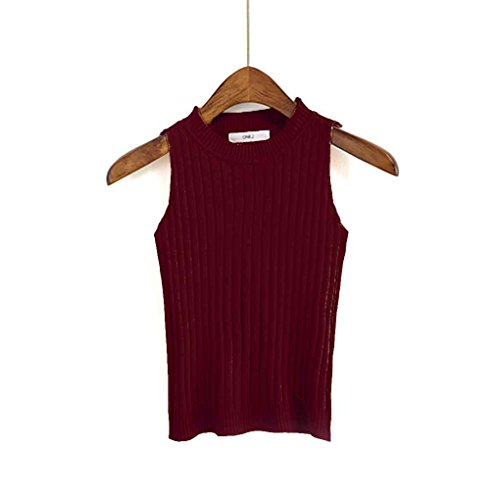 Masterein Femmes Tricoté Crop Tank Top Tight Bustier Crop Tops Soild Casual O Cou Gilet Tops Off épaule Vino rojo