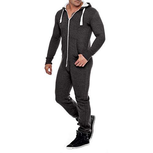 Herren Jumpsuit Fleece Schlafanzug Männer Traininganzug Onesie Schönes elegente Playsuit Herren Einteiler Onesie Overalls Hoodies Nachtwäsche (Medium, DunkelGrau)