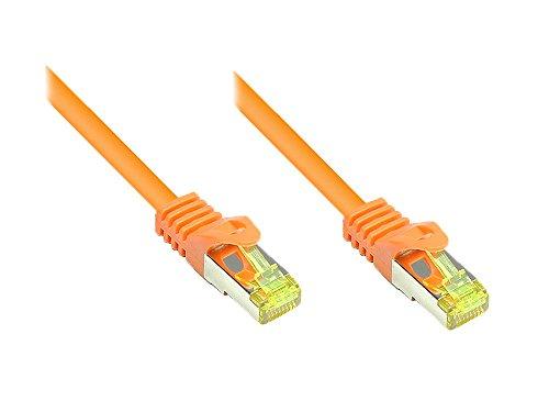 Good Connections RJ45 Ethernet LAN Patchkabel mit Cat. 7 Rohkabel und Rastnasenschutz RNS, S/FTP, PiMF, halogenfrei, 500MHz, OFC, 10-Gigabit-fähig (10/100/1000/10000-Base-T Ethernet Netzwerke) - z.B. für Patchpanel, Switch, Router, Modem - orange, 0,5 m