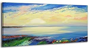 100% HANDMADE + Certificato | Quadro dipinto con colori acrilici Bellissima mattina | 115x50 cm | dipinti su tela con lettiga in legno | artigianali | Comodo fissaggio alla parete | Arte Contemporanea