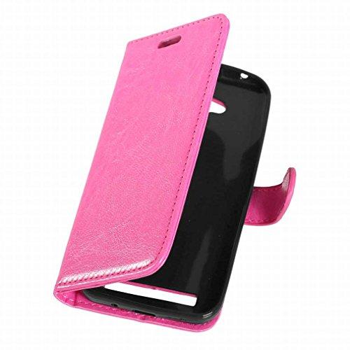 Custodia Asus Zenfone Go ZB452KG Cover Case, Ougger Portafoglio PU Pelle Magnetico Stand Morbido Silicone Flip Bumper Protettivo Gomma Shell Borsa Custodie con Slot per Schede Colore Bianco Rosa