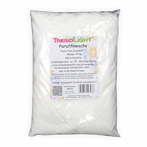 TrendLight 890020 Paraffin 25 kg Kerzenwachs rein weiss zum Kerzen herstellen Markenqualität -