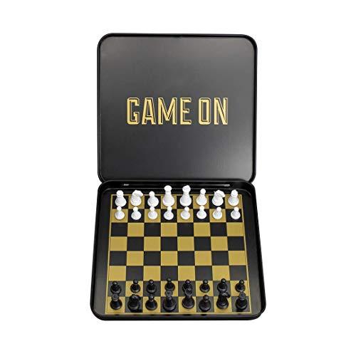 Travel Chess set-Set di scacchi magnetico con valigetta di alluminio nero e oro