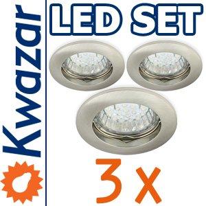 Super Set 3er K-13 Einbaustrahler Led Lampe 20p 20w Gu10 Fassung 230v von Kwazar Leuchte