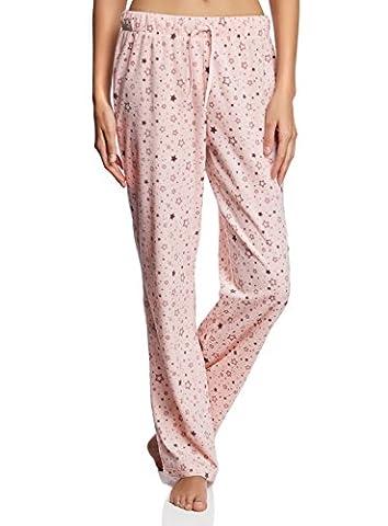 oodji Ultra Femme Pantalon Imprimé en Polaire, Rose, FR 36 / XS