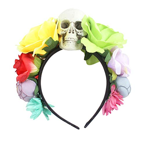 tirnband Schädel Künstliche Blume Haarband für Halloween Karneval Scary Theme Party Cosplay Kostüm (Grün Gelb) ()