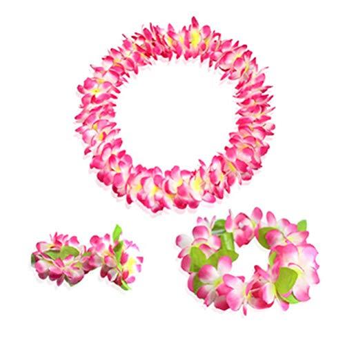 wer Leis Jumbo-Halskette, Armband, Haarband, Set, Hawaii-Kranz, Lei Party Favors for Hawaiian Luau Party Decoration Supplies Rose ()
