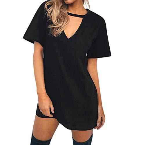 ZT TRADE Womens Sommer Casual T-Shirt Kleider Choker V-Ausschnitt Lange Tops Bluse Casual Beach Party Minikleid S,Black - Sieht Bronzer