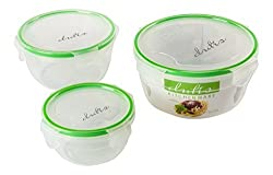 Microwave and Dishwasher Safe Plastic Food Storage Containers Set With Spill Proof Durable Locking System. Airtight & Watertight Lids Locks in Freshness & Keeps Food Safe, 3 Piece Set (Round)