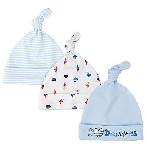 Tukistore 3 Pack Neugeboren Jungen Mädchen Baumwolle Verstellbarer Kappe Mütze...