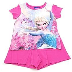 Pijama Frozen Disney para niñas 2 Piezas-Camiseta Manga Corta pantalón Corto- 100% algodón Color Fucsia 4 años