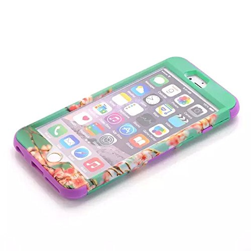 iPhone 6 Plus Case,Lantier Hybrid Tuff Shockproof Case for Apple iPhone 6 Plus 5.5inch 3 in 1 Combo Front Back Full Body Case with Plastic Silicone Screen Protector Stylus Cherry Blossom Flower/Blue Cherry Blossom Flower/Purple