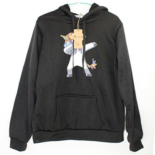 Felpe Unicorno Corte Tumblr Ragazza Donna Sportive Tops Maniche Lunghe Felpa Maglione Pullover Stampa Sweatshirt Basic Girocollo Maglietta T shirt Autunno Inverno - BienBien Nero