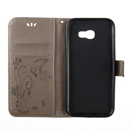 EKINHUI Case Cover Horizontale Folio Flip Stand Muster PU Leder Geldbörse Tasche Tasche mit geprägten Blumen & Lanyard & Card Slots für Samsung Galaxy A5 2017 ( Color : White ) Gray