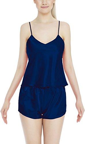 m.Lyra Damen Nachtwäsche Wäsche Set aus Satin JUTTA (XS �?2XL) Marine