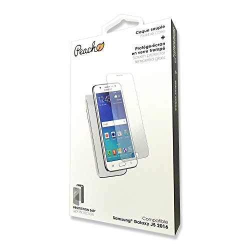 Peach Coque Samsung Galaxy J5 2016 en silicone souple transparent + Film...