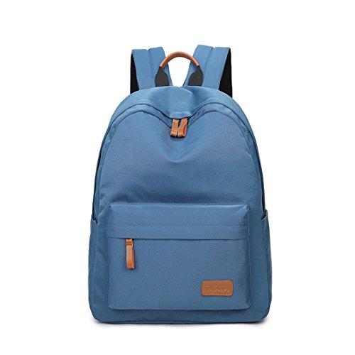 Joymoze Classico Zaino Da Scuola Impermeabile In Tinta Unita Per Adolescente Zaino Per Il Tempo Libero Retrò Azzurro 840 Blu