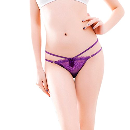 Mesh Bikini Panty (SUCES Tangas Limited Edition Damen Bandage zarter Spitze Riemen G-Strings Höschen Unterwäsche Low Waist Unterhosen Panties Bikinis Underwear Lace Underpanties Briefs Tanga Dessous (purple))