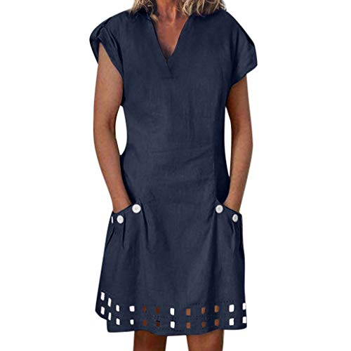 andkleid Sommer Kleid Lässig Große Groß Kleider Womens Leinenkleid Kurzarm Freizeitkleid Boho Sommerkleid ()