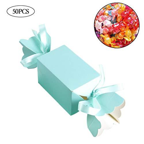 Bongles 50pcs Mehrfarben Zu und Taschen Süßes Geschenk-Süßigkeit-Kästen für Hochzeit Baby Shower Geburtstag Gäste Bevorzugungen Ereignis-Party (zufällige Farbe)