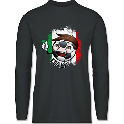 Shirtracer Fußball - Fußballjunge Italien - Herren Langarmshirt Dunkelgrau