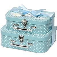 Caja de recuerdos – 2 cajas azules con cinta de satén y etiqueta de mensaje para