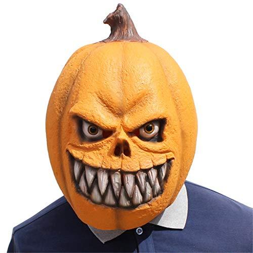 Hffan Halloween Maske Orange Maske Horror Kürbismaske Schmelzen Gesicht Erwachsenen Latex Kostüm Halloween Beängstigend Masquerade Requisiten Party Kostüm Gesichtsmaske Cosplay Karneval Kopfmask (Feuer Hunde Kostüm Baby)