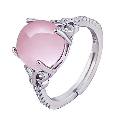 Nourich - anello aperto da donna e ragazza, con cristalli di opale rosa, regolabile, placcato in argento, con taglio princess, per decorazione quotidiana