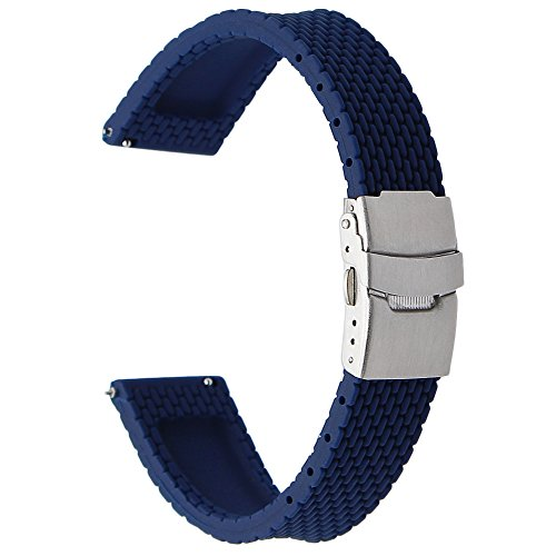 TRUMiRR 24mm Quick Release Silicone Rubber Watch Band Sports Strap for Sony...