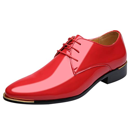 Dhyuen Herren Einfache Basic Lederschuhe Business Pointed Paint Leder Bright Leather Fashion Shoes (Schuhe Kinder Red Sparkly)