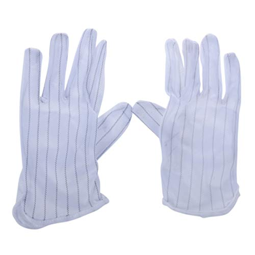 REFURBISHHOUSE 1 Paar Anti-Statik-Anti-Rutsch-Handschuhe ESD PC Computer Elektronische Arbeiten Weiss
