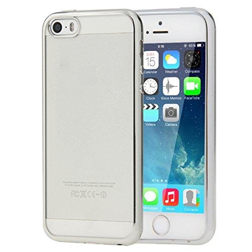 Wkae Case & Cover Pour iPhone SE & 5s et 5 Housse de protection transparent TPU souple Electroplating ( Color : Silver ) Silver