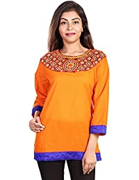 Fashion Store Women's Hand Embroidered Chicken Work Cotton Cambric Kurti (Orange , Medium)