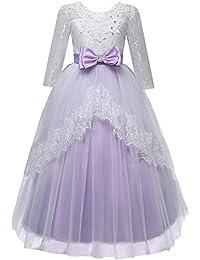 YanHoo Vestiti del Vestito dal Tutu di Prestazione di Nozze di Principessa  di Bowknot del Pizzo 1900bde67cc