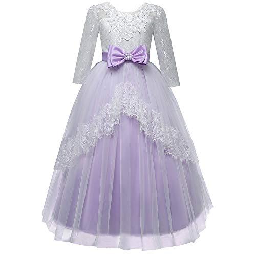 Mbby costumi damigella bambine,5-13 anni vestito da carnevale per bambina cerimonia abiti principessa in pizzo con fiocco 3/4 manica tulle abito tutu per ragazza