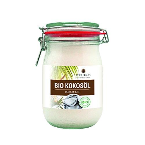 meracus Bio Aceite de coco, sabor neutro (desodorizado) en tarro de planchado, 1 unidad (1 x 1 l)
