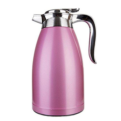 Haosen thermoskanne 2 Liter,Edelstahl Isolierkanne Vakuum isolierung kaffeekanne - 100% dicht,Schnell öffnen und schließen,Elegantes Design (Rosa)
