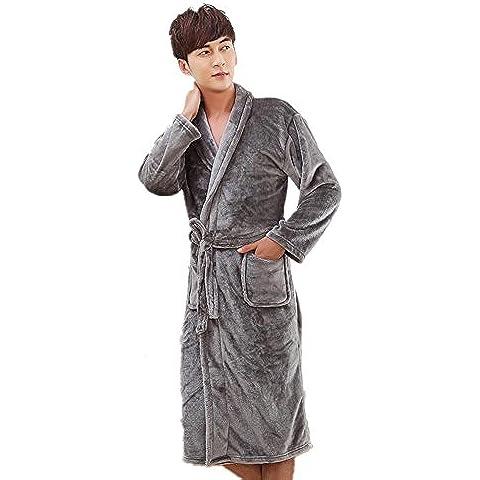 LIUDOUFranela vestido ropa de dormir y Loungewear espesado mucho de los hombres traje gris , xl