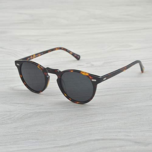 LKVNHP Hohe Qualität Gregory Peck Markendesigner Männer Frauen Sonnenbrillen Vintage Polarisierte Sonnenbrille Retro Sonnenbrille Oculos De SolVs Gray47Mm